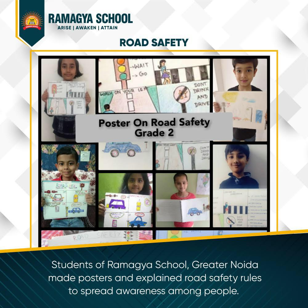 Students of Class 1- II explained road safety to aware people.