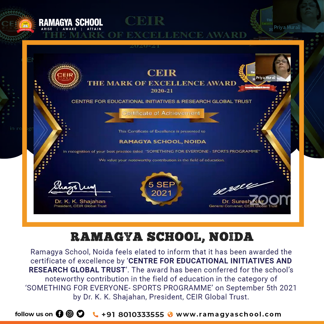 Excellence Award by 'CENTRE FOR EDUCATIONAL INITIATIVES AND RESEARCH GLOBAL TRUST'
